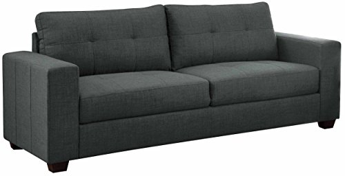Homelegance Ashmont 9639-3 Sofa, Dark Gray Linen Fabric - Sofa upholstered in modern dark gray linen fabric Clean track-arm design with semi-soft seating feel for your body Matching Love Seat (9639-2) and Chair (9639-1) are available - sofas-couches, living-room-furniture, living-room - 41fZPihqE%2BL -