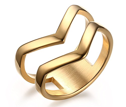 HUANIAN Fashion Gold Plated Stainless Steel Double Chevron V Shape Knuckle Midi Ring Women,Gold,Size 9 - 14k Gold Chevron