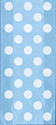 Light Blue Polka Dot Cellophane Bags, 20ct (Dot Favor Bags)