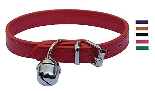 Red Leather Pet collars for Cats,Baby Puppy Dog,Adjustable 8