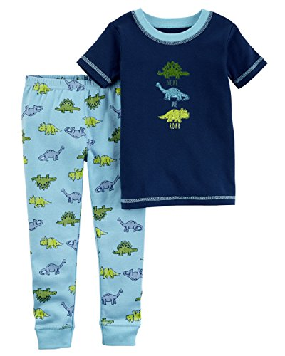 Carter's Baby Boys' Little Planet Organics 2-Piece Cotton Pajamas, Navy Dino, 12 Months