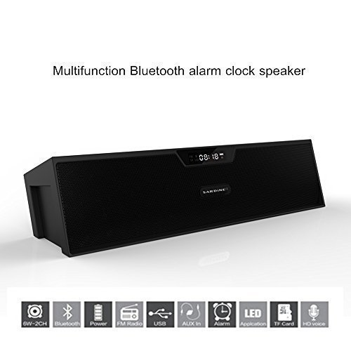Portable Wireless Bluetooth Speaker with 2 X 5W Surround Sound Subwoofer and Speakerphone with FM Radio, Alarm clock, LED Display, Support TF card and USB input, for iPhone, ipad, Samsung, PC(Black)