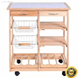 COLIBROX-- New Rolling Wood Kitchen Trolley Cart Dining Storage Drawers Stand Durable