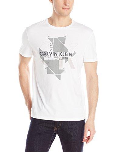 Calvin Klein Men's Digital Calvin Chest Print Tee, White, Small