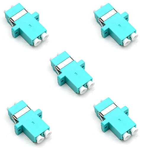 TEZONG LC Female Fiber coupler LC to LC Fiber Optic Cable Adapter connector Joiner Exterder Multimode Duplex OM3 Aqua 5 Pack (Optic Coupler)