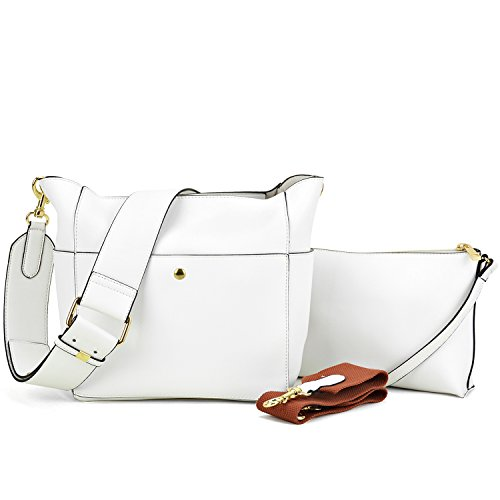 Dasein Women Satchel Hobos Top Handle Totes Multi Pockets Shoulder Purses Soft Leather Crossbody Handbags Roomy Bucket Bags (white)