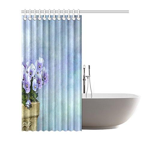 TIANYUSS Plants Flower Pansy Plant Bouquet Landscape Nature Purple Yellow Polyester Fabric Shower Curtain Bathroom Sets