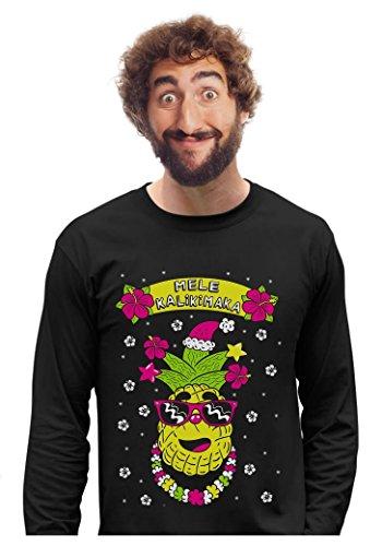 - Tstars Mele Kalikimaka Hawaiian Pineapple Ugly Christmas Sweater Long Sleeve T-Shirt Medium Black