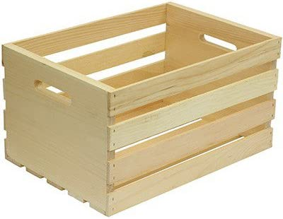 """Crates /& Pallet 67140 Unfinished Pine Wood Crate 18/"""" x 12.5/"""" x 9.5/"""" Large"""
