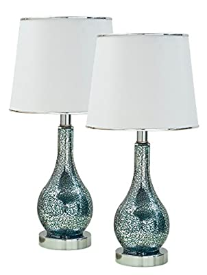 Kings Brand Blue Glass With White Fabric Shade Table Lamps, Set of 2