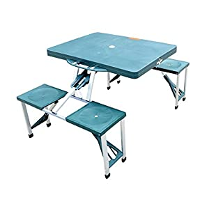 Outsunny Portable Folding Outdoor Camp Suitcase Picnic Table w/ 4 Seats by Outsunny