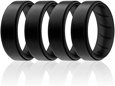 1 Ring Rubber Wedding Bands 8.0mm Wide 7 Rings 4 Rings 2.5mm Thick Weiji Inner Arc Ergonomic Breathable Design,Silicone Rings for Mens with Dual Color