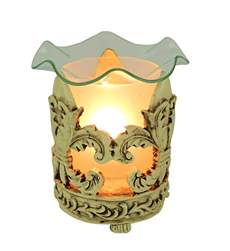 StealStreet MG-907CL Fleur De Lis Polyresin and Glass Electric Oil Aromatherapy Burner