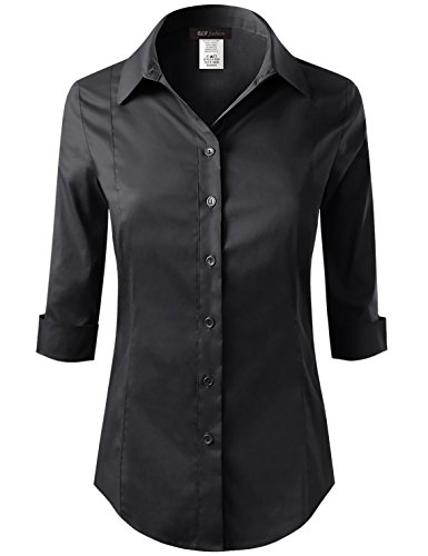 Price comparison product image ELF FASHION Roll up 3/4 Sleeve Button Down Shirt for Womens Made in USA (Size S~3XL) Black L