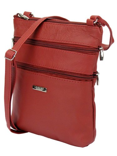 Small Leather Ladies Shoulder Zipped Pockets Red Body Bag Cross With 5 Genuine SqgCEgdA
