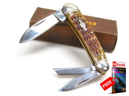 ROUGH RIDER Amber Jigged Bone WHITTLER 3 Blade Folding Pocket Knife + FREE eBOOK by MOON KNIVES