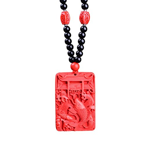 - LOMOL Personality Lucky Fish Red Cinnabar Pendant Necklace With Bead Chain Costume Jewelry Gift For Men&Women