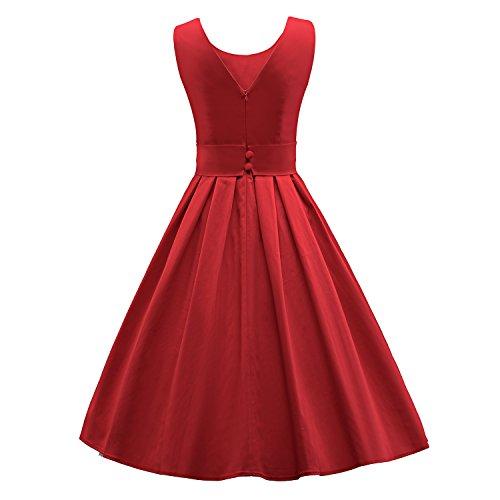 iLover Vintage Rockabilly Gestreiften Kleid Hepburn Stil Partykleid Cocktailkleid 50er Jahr Abendkleid V034-Red ziNiF