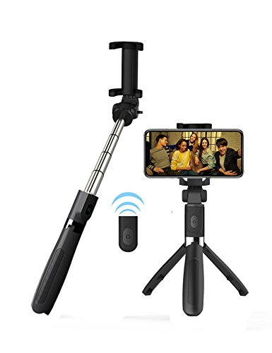 Alptoy Selfie Stick Bluetooth, Extendable Selfie Stick with Wireless Remote and Tripod Stand Selfie Stick for iPhone X/iPhone 8/8 Plus/iPhone 7/iPhone 7 Plus/Galaxy Note 8/S9/S9 Plus/S8 by Alptoy