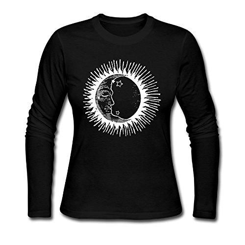 - Sun And Moon Face T Shirt Joker Crewneck Long Sleeved Shirts Womens