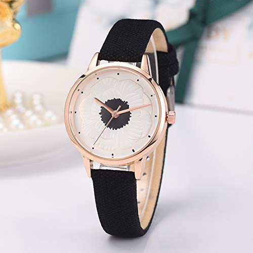 JYS365 Women Faux Leather Strap Floral Pattern Round Dial Analog Quartz Wrist Watch Gift Wine Red ()