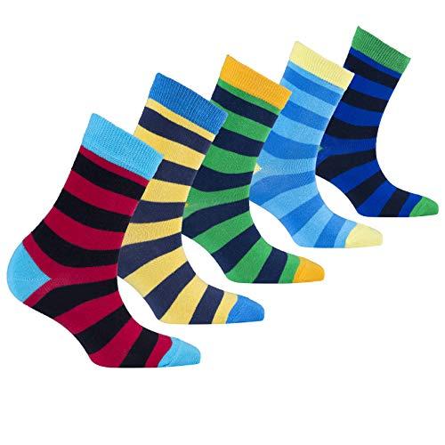 Socks n Socks-Kids 5-pair Fun Cool Cotton Colorful Stripe Socks Gift Box-Large -