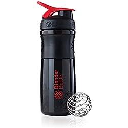 BlenderBottle SportMixer Tritan Grip Shaker Bottle, Black/Red, 28-Ounce