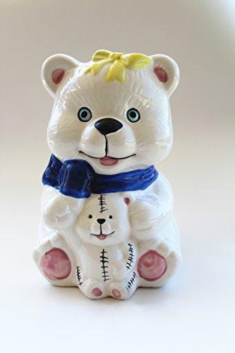 Eskyshop Elegant Cute Ceramic Kitty Cat Bear Dog Elephant Toilet Brush and Holder With Brush (Finely Hand Painted Ceramic)