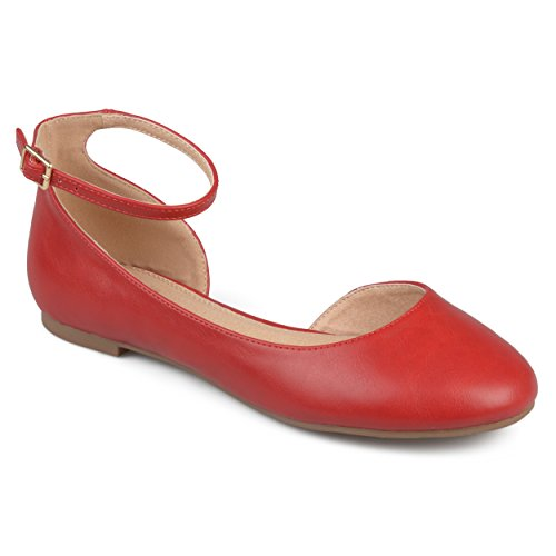Journee Collection Large Largeur Dorsay Cheville Strap Bout Rond Flats Rouge