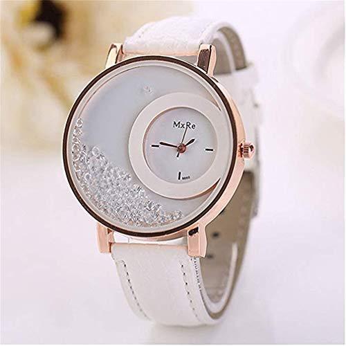 (Windoson Fashion Quicksand Beads Double Circle Ladies Watch Casual Quartz Student PU Leather Strap Watch (White))