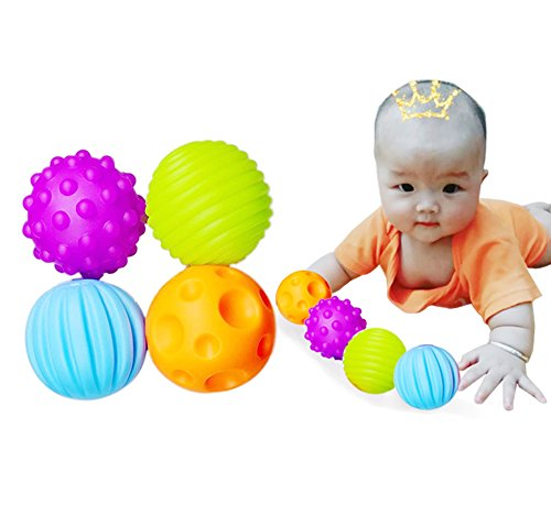 Leisial 4PCS Baby Soft Sensory Balls Hand Grasping Ball Touch Perception Soft Ball BB Ball with Sound Effect Educational Toys Baby Kid Toy Gift
