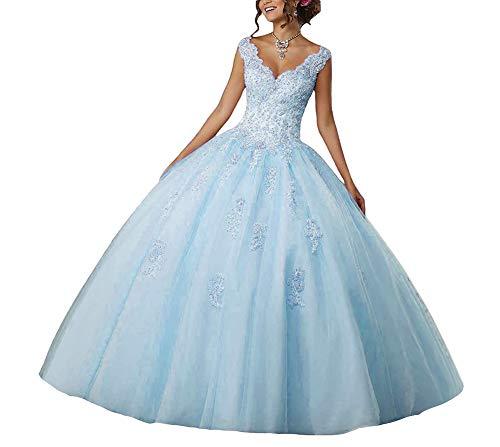 Quinceanera Robes V Femme Jaeden cou Bleu Tulle De Dentelle Mariée Longue Bal TH7waXFq