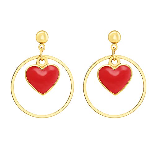 FAMARINE Red Heart Drop Earrings Cute Lovely Round Circle Dangle Gold Stud Earring for Teen Girls Women Kids Gifts ()