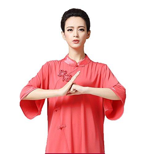 ZooBoo Women's Chinese Traditional Tai Chi Uniform Kung Fu Clothing (XXL, Watermelon Red)