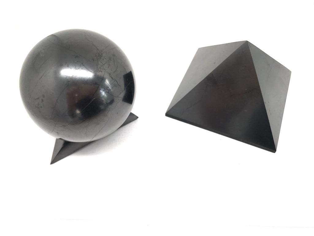 Karelian Heritage Authentic Shungite EMF Protection Set of Large Pyramid and Sphere with Stand (100 mm (3.94 inches)) S071 by Karelian Heritage