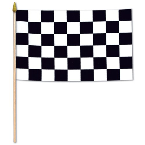 Beistle 50982 12-Pack Checkered Rayon Flags, 4 by 6-Inch