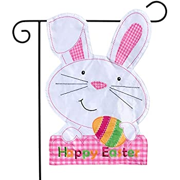 HOUSE Shaped Spring Bunny Rabbit Easter Translucent Ears appliqued HOUSE flag