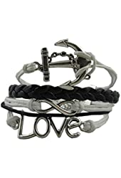 Silver Infinity Anchor Love Charms Leather Rope Knit Wrap Bracelet White Black