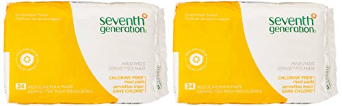 SEVENTH GENERATION Free & Clear Maxi Pads, 24 Count (2 Pack)