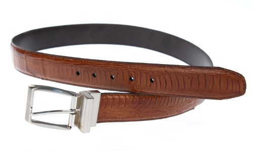 Stacy Adams 6-188 Croco and Ostrich Leg Embossed Leather Mens Belt, Nickel (Stacy Adams Embossed Belt)