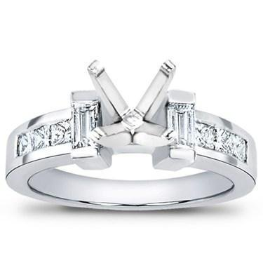 0.80 Ct TW Ladies Princess Cut Diamond Semi Mount Engagement Ring in 14 kt White Gold in Size 8