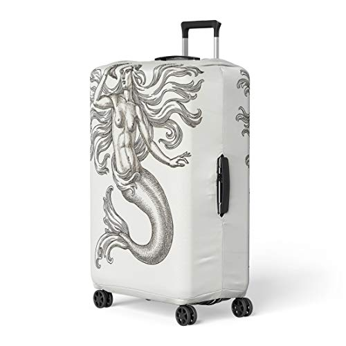 Pinbeam Luggage Cover Original Ink and Pen Drawing Mermaid on Allegory Travel Suitcase Cover Protector Baggage Case Fits 26-28 inches