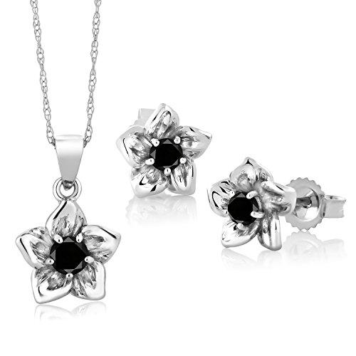Gem Stone King 18K White Gold 0.30 Ct Round Black Diamond Flower Pendant Earrings Set