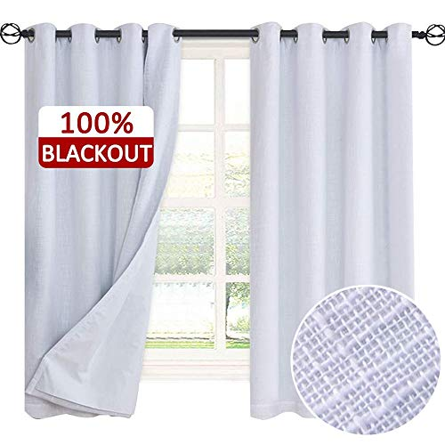 Rose Home Fashion Primitive Linen Look,100% Blackout Curtain(with Liner),White Linen Curtains,White Blackout Curtains& Blackout Thermal Insulated Liner,Burlap Curtains-Set of 2 Panels(50x63 White) - Blackout Room Curtain