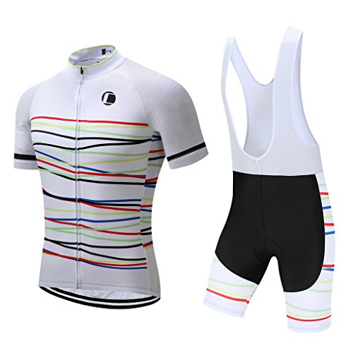 Coconut Ropamo Summer Men's Cycling Jersey Road Bike Jersey Cycling Bib Shorts With 4D Padded Cycling Kits For Men (Chest 40-42'' Waist 32-34''-Large, Withe Color Curve) - 42' Curve