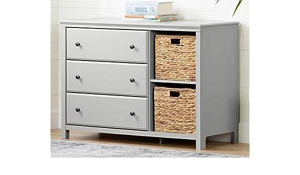Amazon.com: Chester Drawers - Soft Gray Wood Three Drawer ...