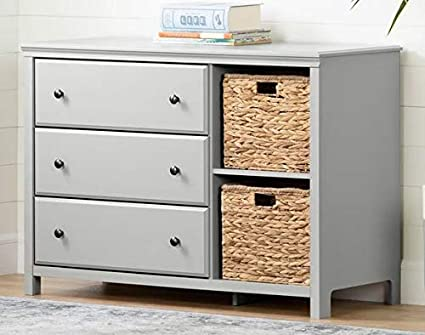 Amazon.com: Chester Drawers - Soft Gray Wood Three Drawer Combo with ...