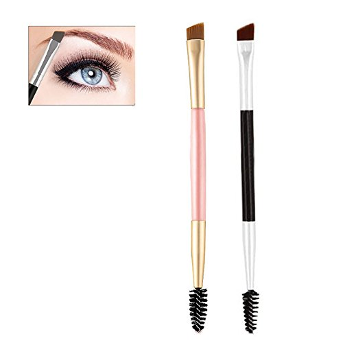 Double Ended Eyebrow Brushes Comb Set Eyebrow Makeup Kit Eyebrow Brush Comb Design Allows for Precision Application of Brow Powders, Waxes and Gels and Evenly Blends Product (2 Pack)