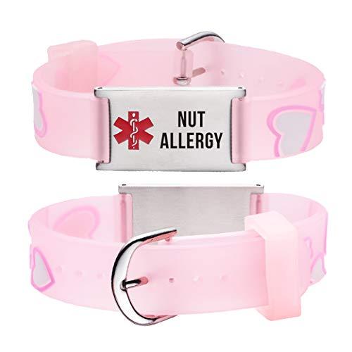 linnalove Nut Allergy Cartoon Pink Heart Medical id Bracelet for boy & Girl,Kids