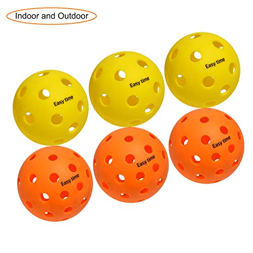 EasyTime Outdoor and Indoor Pickleball Balls, Specifically Optimized Design, Stable Flight Trajectory, High Elasticity and Durable - with 40 Holes Outdoors Pickleball and 26 Holes Indoors.